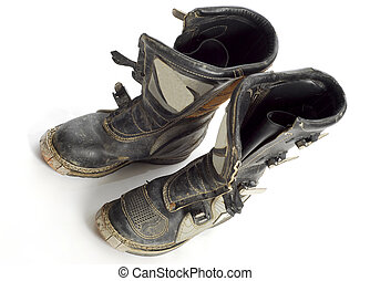 dirt bike boots - motocross bike boots with reflection on...