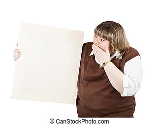 girl holds blank canvas