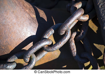Old anchor chain link in the link - Old rusty anchor chain...