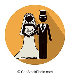 circular shape pictogram of wedding couple with costumes