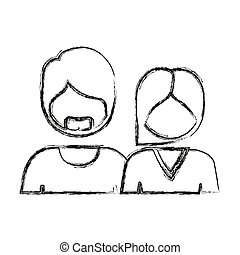 blurred silhouette with half body couple without face she short hair and him with beard