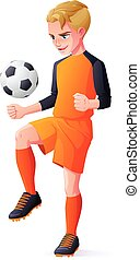 Vector young football or soccer player boy playing with...