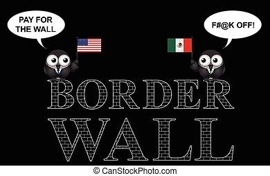 Comical USA Mexico border wall