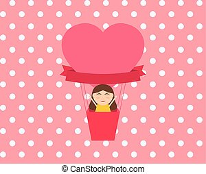 Girl sitting in hot air balloon in the shape of heart