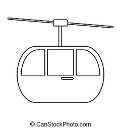 sky cable car transport mountain thin line vector...