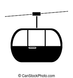 silhouette sky cable car transport mountain vector...