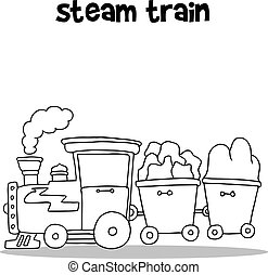 Hand draw of steam train vector collection stock
