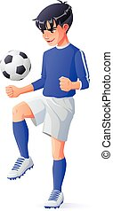 Vector young football or soccer player boy juggling with...