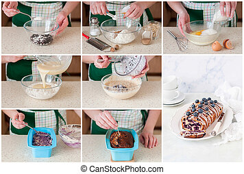 A Step by Step Collage of Making Blueberry Loaf Cake - A...