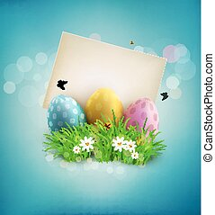 Vector vintage element for design. Easter eggs in green grass with white flowers, butterflies, vintage card for congratulation on a blue background