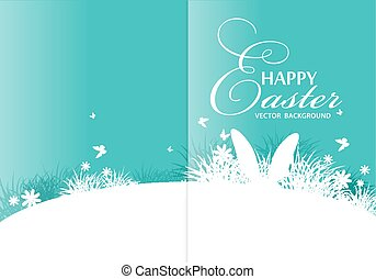 Vector background for Easter. Template for brochure. Rabbit ears sticking out of the grass.