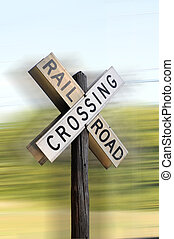 Railroad crossing showing ground movement.