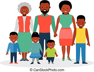 A big family with children and grandmother. African-American...