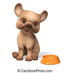 Hungry puppy dog,  isolated character 3d rendering