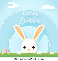 Easter bunny rabbit hole egg icon sky background template...