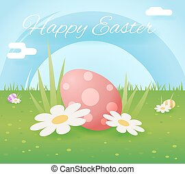 Egg easter icon sky grass background template flat moble...