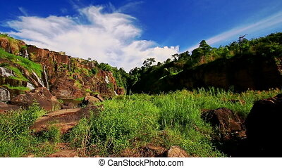 Distant View Waterfall Pongour in National Park in Vietnam -...