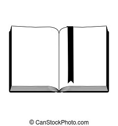 monochrome silhouette with open book with ribbon in blank