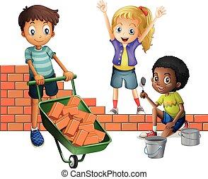 Three kids building brick wall