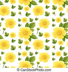 Seamless background design with yellow flowers illustration
