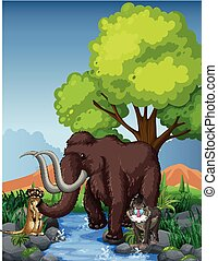 Mammoth and meerkat by the river illustration