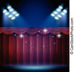 Stage with red curtain and many lights illustration