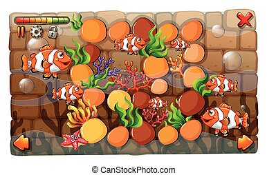 Game template with clownfish swimming in background...