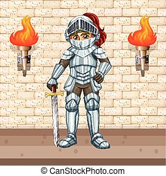 Knight in armour suit with silver sword