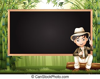 Frame design with man in bamboo forest illustration