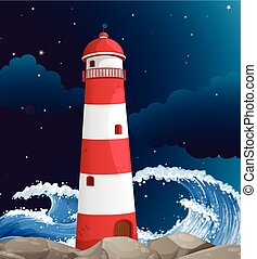 Lighthouse building on the coast illustration
