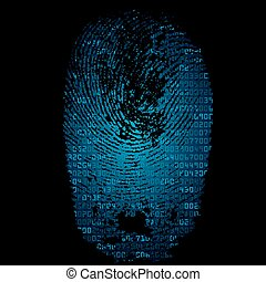 Background with fingerprint and hexadecimal code - Blue...