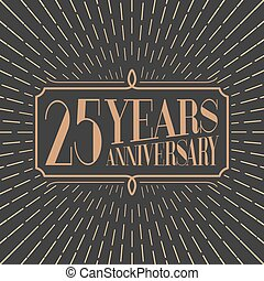 25 years anniversary vector icon, logo. Gold color graphic...