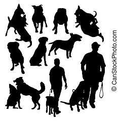 Police and Dog Activity Silhouette, art vector design
