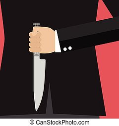 Businessman holding a knife behind his back. Business...
