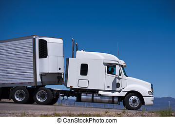 Power Semi truck rig and reefer trailer side view - Big...