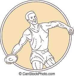 Track and Field Discus Thrower Circle Mono Line