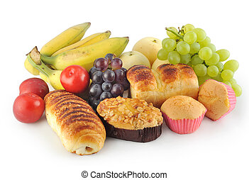 fruits - variety of fruit and bread in a white background