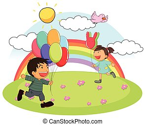 Two kids playing in the park at daytime