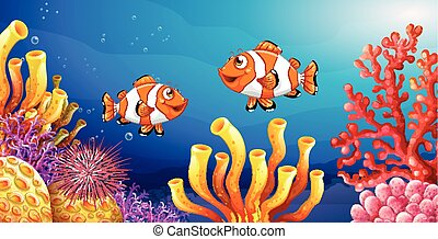 Underwater scene with clownfish and sea urchin illustration
