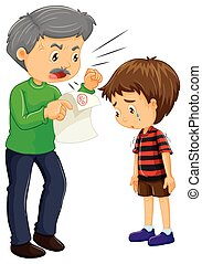 Angry father and boy with bad grades on paper illustration