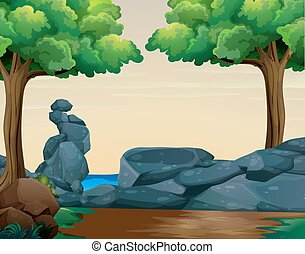 Scene with rocks in the woods