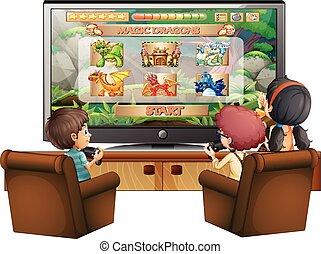 Kids playing game with big screen TV illustration