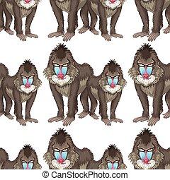 Seamless background design with baboons illustration