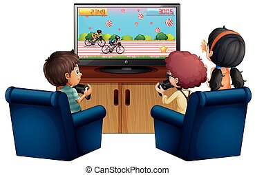 Three kids playing game at home illustration