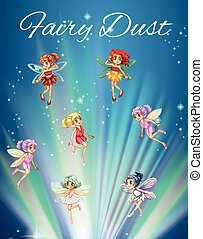 Fairies flying with bright light in background illustration