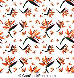 Seamless background design with bird of paradise flowers
