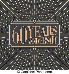 60 years anniversary vector icon, logo. Gold color graphic...