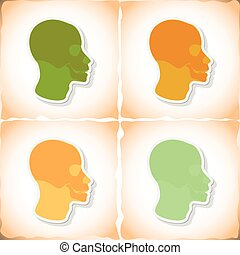 Skull human head. Flat sticker with shadow on old paper