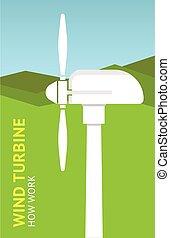 Landscape with wind turbine. Vector
