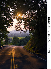 Road sunlight through trees and beautiful scenery in distance